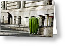 The Story Of Him Waiting And A Green Trashcan Greeting Card by Joanna Madloch