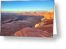 The Sun Sets On Canyonlands National Park In Utah Greeting Card by Alan Vance Ley