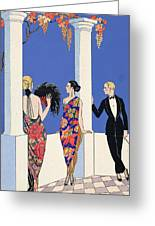 The Taste Of Shawls Greeting Card by Georges Barbier