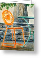 The Terrace Chair Greeting Card by Thomas Kuchenbecker