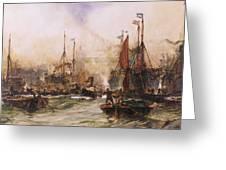 The Thames At Tower Bridge Greeting Card by Charles Edward Dixon