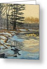 The Thawing Pond - Hudson Valley Greeting Card by Gregory Arnett