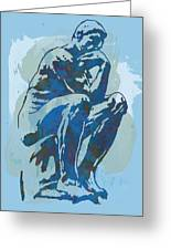 The Thinker - Rodin Stylized Pop Art Poster Greeting Card by Kim Wang