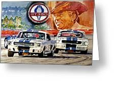 The Thundering Blue Stripe Gt-350 Greeting Card by David Lloyd Glover