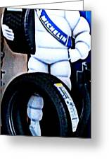 The Tire Man Greeting Card by Pamela Hyde Wilson