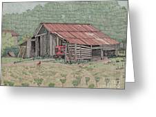 The Tractor Barn Greeting Card by Calvert Koerber