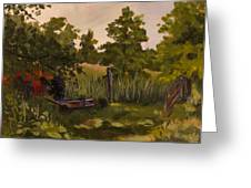 The Tractor By The Gate Greeting Card by Janet Felts