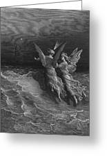 The Two Fellow Spirits Of The Spirit Of The South Pole Ask The Question Why The Ship Travels  Greeting Card by Gustave Dore