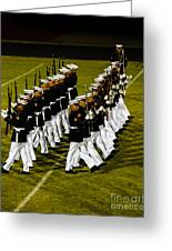 The United States Marine Corps Silent Drill Platoon Greeting Card by Robert Bales