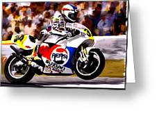 The Unleashing   Kevin Schwantz Greeting Card by Iconic Images Art Gallery David Pucciarelli