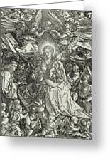 The Virgin And Child Surrounded By Angels Greeting Card by Albrecht Durer or Duerer