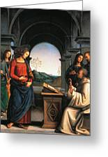 The Vision Of St Bernard Greeting Card by Pietro Perugino