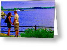 The Vow Lovers Forever By The Lake Summer Romance St Lawrence Shoreline Scenes Carole Spandau Art Greeting Card by Carole Spandau