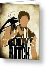 The Walking Dead Inspired Daryl Dixon Typographic Artwork Greeting Card by Ayse Deniz