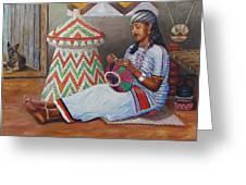 The Weaving Lady Greeting Card by Samuel Daffa