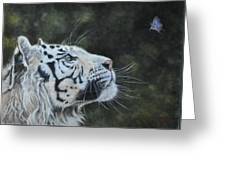 The White Tiger And The Butterfly Greeting Card by Louise Charles-Saarikoski