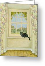 The Window Cat Greeting Card by Ditz