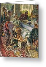 The Woman With The Box Of Ointment Greeting Card by Harold Copping