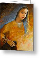 The Wonderment Of Mary - Virgin Mary Madonna Mother Of Jesus Christ Child Greeting Card by Carla Holiday