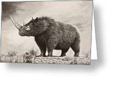 The Woolly Rhinoceros Is An Extinct Greeting Card by Philip Brownlow