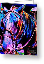 The Working Horse IIi Greeting Card by Annie Zeno
