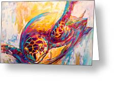 There's More Than Just Fish In The Sea - Sea Turtle Art Greeting Card by Savlen Art