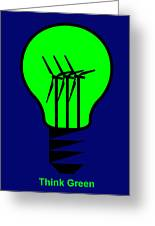 Think Green Greeting Card by Asbjorn Lonvig