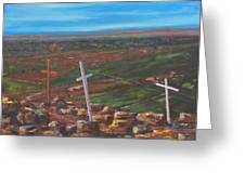 Three Crosses of Tome Hill Greeting Card by Judy Lybrand