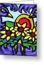 Three Crows And Sunflowers Greeting Card by Genevieve Esson