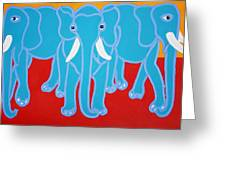 Three Elephants Greeting Card by Matthew Brzostoski
