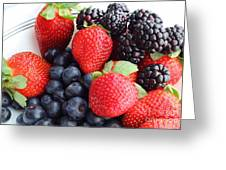 Three Fruit - Strawberries - Blueberries - Blackberries Greeting Card by Barbara Griffin