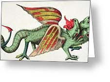 Three Headed Dragon Spitting Fire Greeting Card by German School