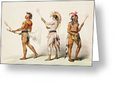 Three Indians Playing Lacrosse Greeting Card by Unknown