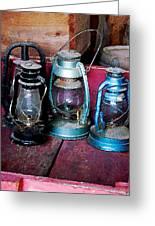 Three Kerosene Lamps Greeting Card by Susan Savad