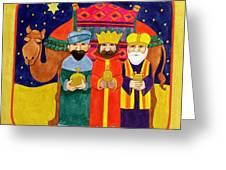Three Kings And Camel Greeting Card by Linda Benton