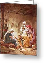 Three Kings Worship Christ Greeting Card by William Brassey Hole