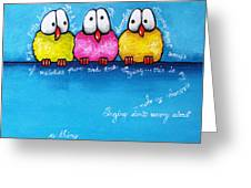 Three Little Birds Greeting Card by Lucia Stewart
