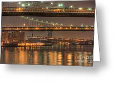 Three New York Bridges Greeting Card by Clarence Holmes