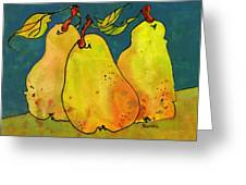 Three Pears Art Greeting Card by Blenda Studio