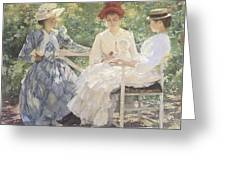 Three Sisters-A Study in June Sunlight Greeting Card by Edmund Charles Tarbell