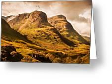 Three Sisters. Glencoe. Scotland Greeting Card by Jenny Rainbow