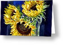 Three Sunny Flowers Greeting Card by Irina Sztukowski