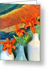 Three Tigerlilies In A Vase Greeting Card by Marsha Heiken