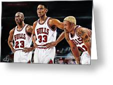 Threepeat - Chicago Bulls - Michael Jordan Scottie Pippen Dennis Rodman Greeting Card by Prashant Shah