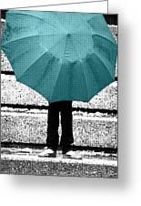Tiffany Blue Umbrella Greeting Card by Lisa Knechtel