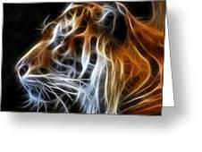 Tiger Fractal Greeting Card by Shane Bechler