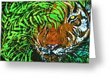 Tiger In Bamboo Greeting Card by Kay Shaffer