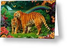 Tiger Love Tropical Greeting Card by Alixandra Mullins