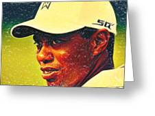Tiger Woods 2 Crayons Greeting Card by MotionAge Designs