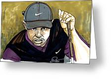 Tiger Woods Greeting Card by Dave Olsen